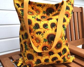 Sunflower Tote Bag, Floral Shopping Bag, Yellow Cotton Shopper, Ethical Beach Bag, Summer Accessories