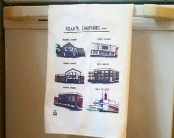 Atlanta Landmarks Illustrated Tea Towel