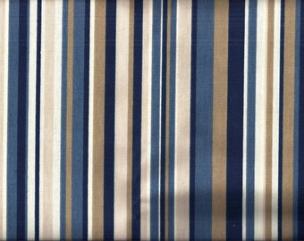 Blue Tan Stripe Curtain Valance