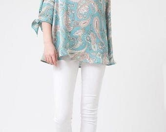 Cold Shoulder Paisley Print Tunic