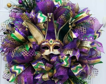 Mardi Gras Wreath - Mardi Gras Wreath for Front Door - Mardi Gras Door Wreath - Mardi Gras Decor - Mardi Gras Decorations - Fat tuesday Wrea