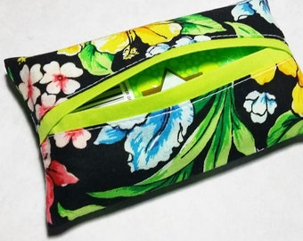Tissue Holder, Fabric Tissue Holder, Travel Tissue Case, Pocket Tissue Cover, Travel Tissue Holder, Gift Under 10