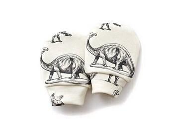 Dinosaur on Cream organic cotton baby mittens, baby mittens, mittens, no scratch mittens
