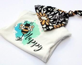 Spring Baby Onesie, Bee Baby Onesie, Bee Toddler Tee, Baby Shower Gift, Gift for new Mom, Organic Bamboo Cotton, Organic Baby Hat