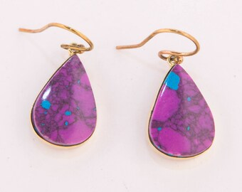 Purple Turquoise Earrings, Brass Purple Turquoise Earrings, Purple Turquoise, Brass Earrings