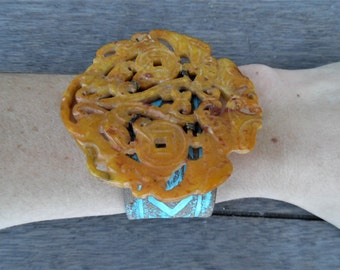 Orange Chinese Hand-Carved Bats Dragons Jade Pendant Turquoise Painted Up-Cycled Leather Cuff Bracelet