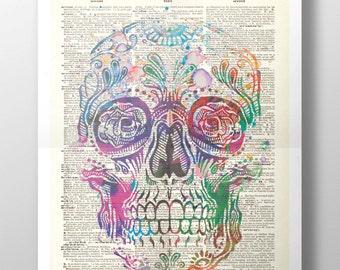 Sugar Skull Upcycled Dictionary Print: Vintage Art Gothic, Calavera, Macabre, Memento Mori