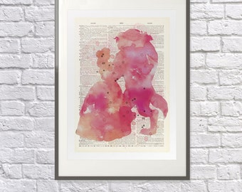 Beauty & the Beast Watercolour Print- Upcycled handmade Dictionary Art - Watercolor Art - Poster