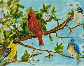 APPLE BLOSSUM TIME Small Painting Birds Song Birds