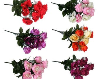 Artificial Roses / Rose Gypsophelia 40cm 10 Head Posy Bouquet Silk Flowers