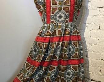 Vintage 1950s-1960s Printed Cotton Summer Dress, UK14
