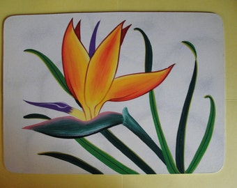 Bird of Paradise Hand-painted Placemats - Set of 4