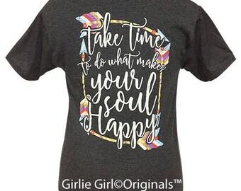 Girlie Girl Originals Happy Soul Black Heather Short Sleeve T-Shirt
