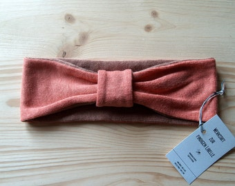 Headband made of 100% hemp Jersey, apricot cognac