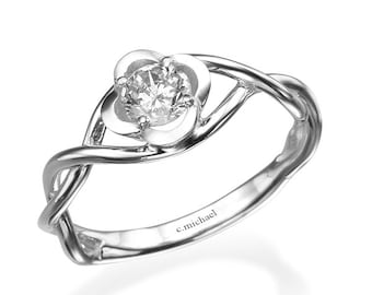 Engagement Ring, Unique Engagement Ring, 14k white Gold Ring, Flower Engagement Ring, Solitaire Ring, Diamond Ring, Diamond Engagement Ring