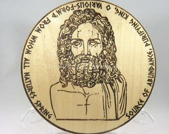 Father Zeus altar paten with Orphic hymn border, engraved maple wood altar tile with hymn, Hellenic Polytheism agalma or offering plate