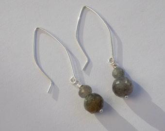 Labradorite earrings on sterling silver handmade ear wires