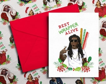UK ONLY for XMAS'18 - Lil Wayne Christmas Card 'Best Wrapper Alive' (Hip Hop / Rap Xmas Cards)
