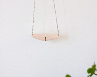 Woman's day ceramic necklace, white and gold