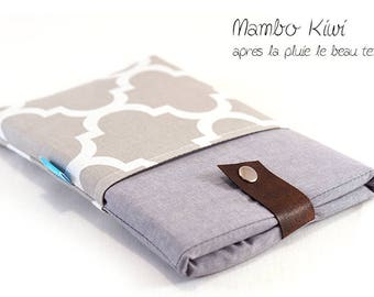 """Cover to measure 8 """"Tablet - case Samsung Galaxy note - padded cover iPad mini - Pocket e-reader Kindle Fire - gray Moroccan cloth"""