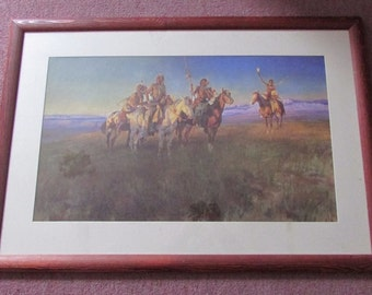 "Vintage, & highly collectable framed print ""Red Man's Wireless"" by Charles M. Russell"