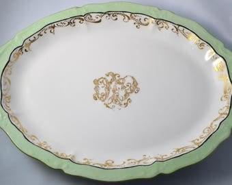 Antique LIMOGES French Porcelain Platter Serving Tray Mint Green Gold Scrolls Theodore Haviland Artist Signed 1903 Large Tableware