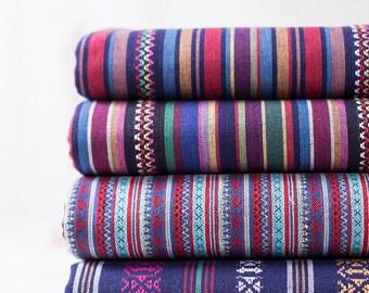 Colorful Stripe Fabric Native Tribal Fabric Ethnic Fabric BOHO Bohemian fabric Cotton Upholstery fabric- 1/2 yard