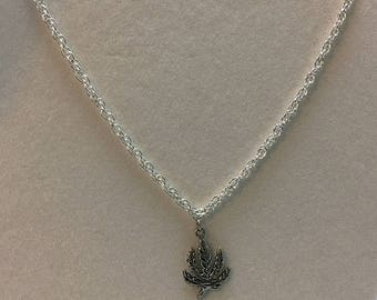 Silver Pot Leaf Charm on a Silver Chain Necklace