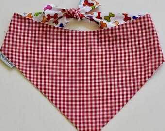 Red Personalized Gingham Bandana    Reversible Dog Bones Southern Classic Tie Pet Scarf    Puppy Gift by Three Spoiled Dogs