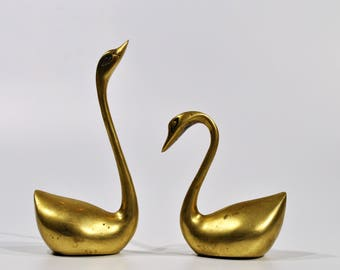 Mid century Modern Brass Swan Set /Bookends  Brass Decor Desk Accessories Brass Bird Modern Swan Brass Figurine Swan