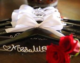 Set of 6 personalized hanger, wedding hanger, bridal hanger bridal gift, customized hanger, bridesmaid hanger
