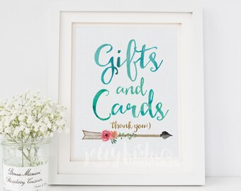 Boho Graduation Gifts & Cards Sign. DIY Printable or Printed. Gold, Coral, Pink, Teal.