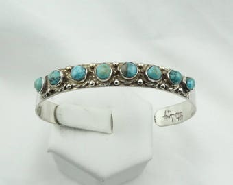 Annie Cowboy Navajo Artisan Vintage Sterling Silver Cuff Bracelet With Turquoise Cabochons  #COWBOY-CF2