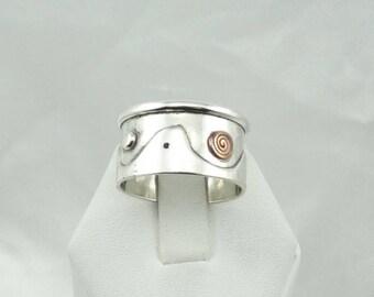 """Unique Hallmarked """"K"""" Designer Sterling Silver And Copper Ring Size 10 1/2  #DESIGNER-SR4"""