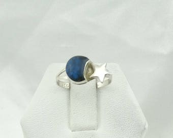 Give Her The Moon And The Stars... Blue Turquoise Sterling Silver Ring Size 6 1/2  #MOONSTAR-SR4