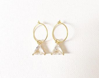 The Corina Mini Hoops, clear quartz crystal mini hoops
