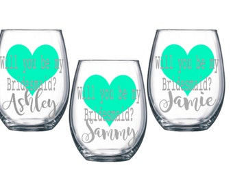 Bridesmaid Proposal, Bridesmaid Glasses, Will you be my bridesmaid? Will you be my maid of honor? Bridesmaid wine glasses,Wedding party gift