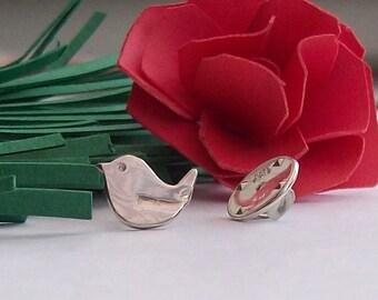 Robin Brooch Pin Sterling Silver 925