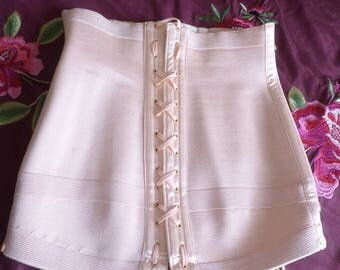 Vintage Retro French Pink Lace Up Boned Corset @ 1940s.