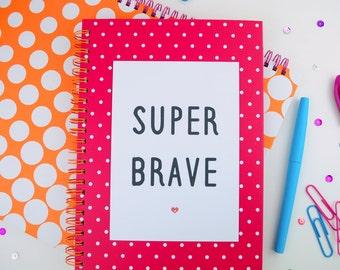 Positive Mantra Quote Print A5/A4   Inspirational Motivational Postcard A6   Super Brave   Office   Nursery   Home Decor