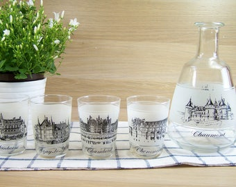 Glass decanter and 4 tumblers Châteaux of the Loire Valley | Glassware French vintage 1960s