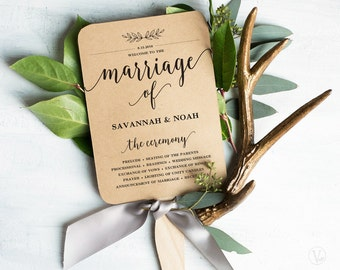 Wedding Fans, Printable Wedding Fan Program Template, Fan Wedding Program, Editable text, Modern Calligraphy, Mr Mrs VW10