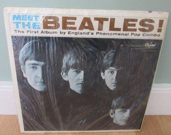 Meet The Beatles Record, The First Album by England' s Phenomenal Pop Combo T-2047, Capitol Records, High Fidelity, Brown Print Mono,