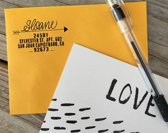 Custom Rubber Stamp Design, ARROW, Return Address, Rubber Stamp, Modern Calligraphy Wood Stamp, Hand Lettered Stamp