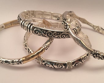 Polished Silver Tone/Filigree Textured/ Two Tone Stackable Stretch Bracelet