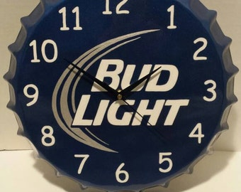 Hand painted metal bottle cap clock