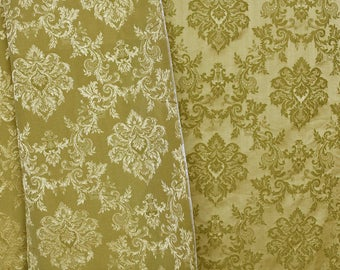 Vintage olive green mustard yellow damask fabric with classical medallion bouquet pattern- 1 side matte, other shiny