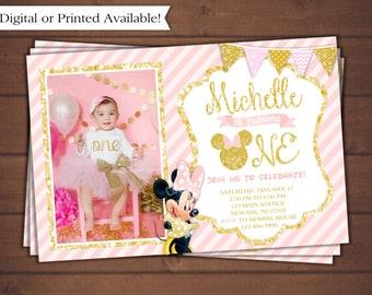 Minnie Mouse Invitation, Gold Minnie Mouse Invitation