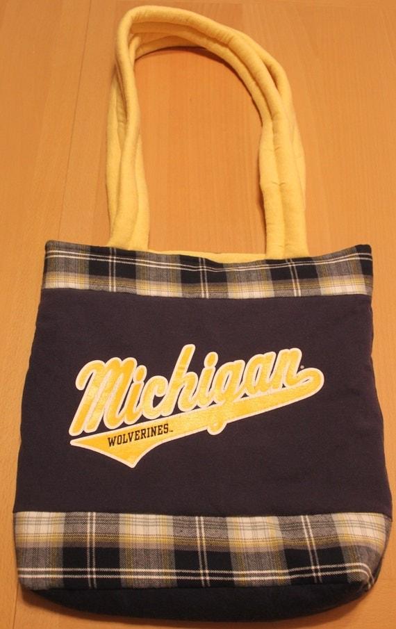 University of michigan t shirt tote bag handmade blue for T shirt tote bag