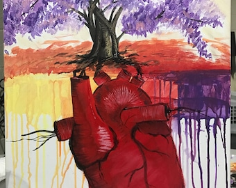 Original acrylic painting - Anatomical heart & tree.